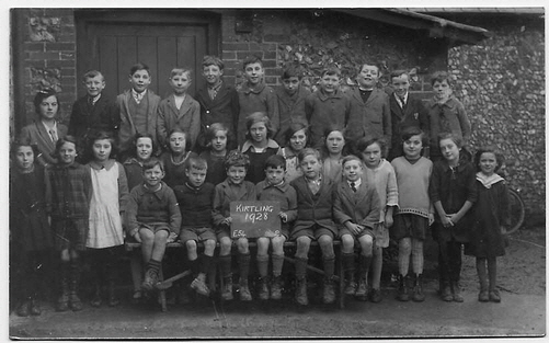 Children at Kirtling School in 1928 - photo courtesy of Rodney Vincent