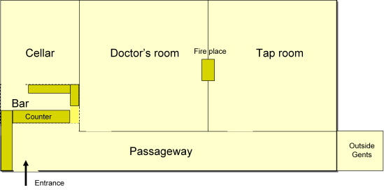 The layout of the Beehive pub in the 1950s as Doug remembers it