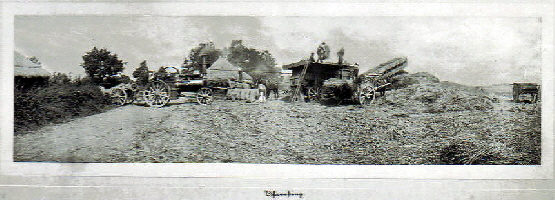 Threshing at 'Six Acres' in Upend c 1900